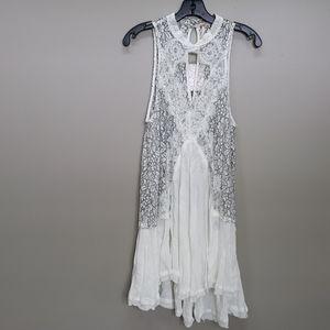 NWT Free People ivory, black lace swing dress sz L
